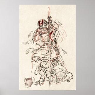 Samurai Drinking Sake After Battle C. 1870 Poster