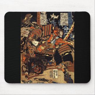 Samurai en combate, circa 1800's alfombrilla de raton
