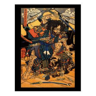 Samurai en combate, circa 1800's postal