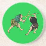 Samurai en duelo posavasos diseño