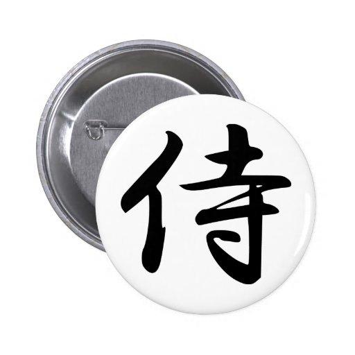 Samurai en kanji japonés pin