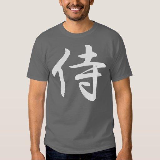 Samurai en kanji japonés remeras