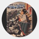 Samurai en la armadura hermosa del dragón, C. Etiqueta Redonda