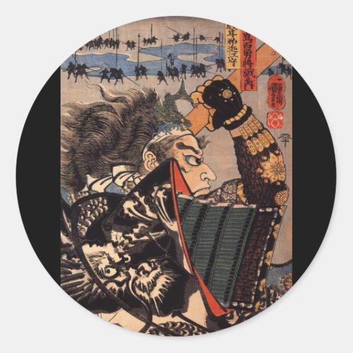 Samurai en la armadura hermosa del dragón, C. Pegatina Redonda