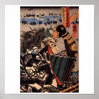 Samurai en la guerra. Armadura hermosa del dragón. Impresiones