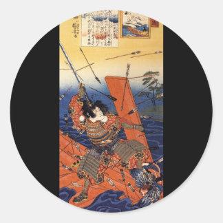 Samurai en la guerra, circa 1800's etiqueta redonda