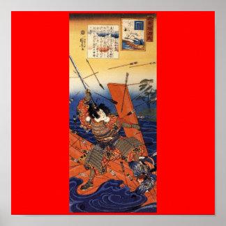 Samurai en la guerra, circa 1800's póster