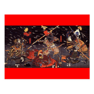 Samurai en la guerra, circa 1800's tarjeta postal