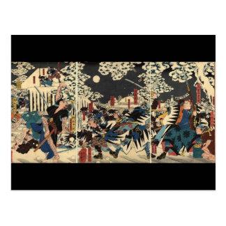 Samurai en la guerra en la nieve circa 1800's postal