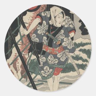 Samurai en la nieve circa 1825 pegatina redonda