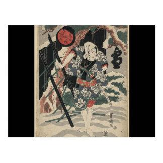Samurai en la nieve circa 1825 postal