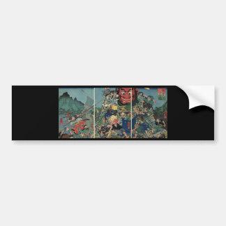 Samurai en la pintura de la guerra circa 1800's pegatina para auto