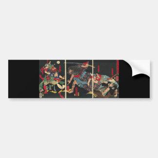Samurai en la pintura del combate. circa 1860 pegatina para auto