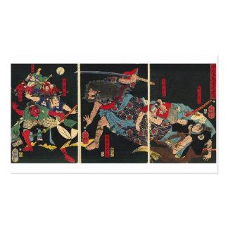 Samurai en la pintura del combate. circa 1860 tarjetas de visita