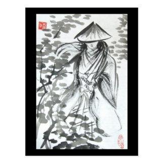 Samurai en la postal del bosque