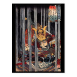 Samurai en lluvia, circa 1800's postal