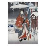 Samurai en tarjetas de felicitación de la nieve