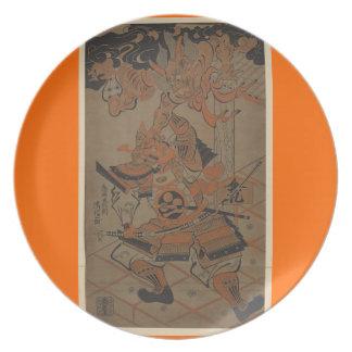Samurai Fighting a Demon circa 1711 Dinner Plate