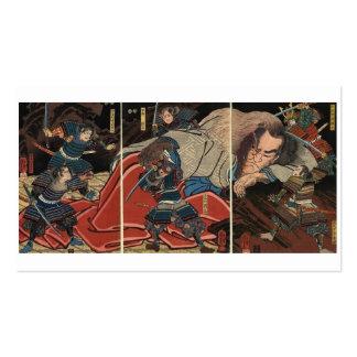 Samurai fighting a giant circa 1800's business card