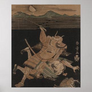 Samurai Fighting at Night circa 1770 Poster