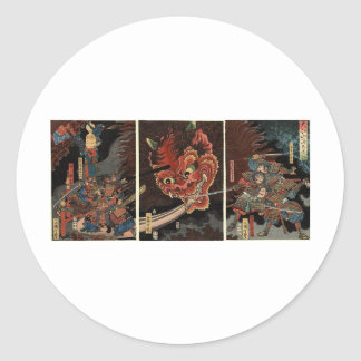 Samurai fighting evil spirit circa 1860 classic round sticker