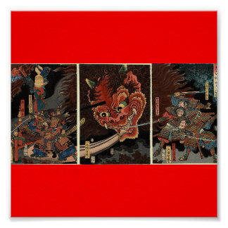 Samurai fighting evil spirit circa 1860 poster