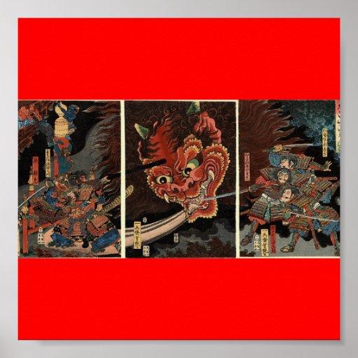 Samurai fighting evil spirit circa 1860 poster