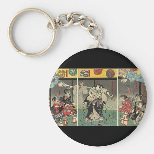 Samurai fighting ghosts and snakes c. 1850 keychain