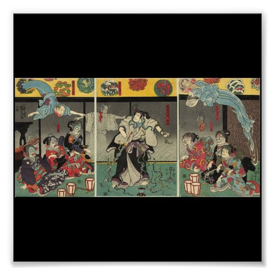 Samurai fighting ghosts and snakes c. 1850 poster
