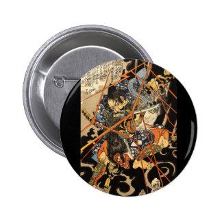 Samurai fighting large monster, circa 1800's button