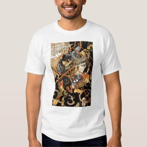 Samurai fighting large monster, circa 1800's T-Shirt