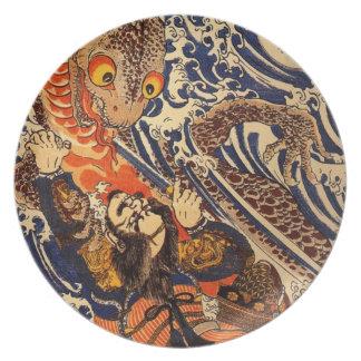 Samurai fighting large reptile, circa 1800's melamine plate