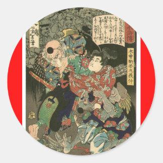 Samurai fighting Tengu, Circa 1866 Classic Round Sticker