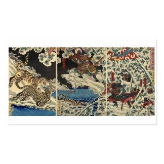 Samurai fighting tiger etc. circa 1800's business card template