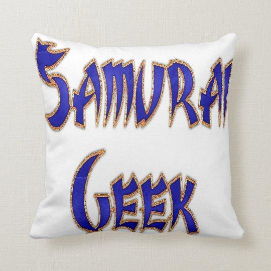 Samurai Geek Blue Throw Pillow