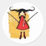 Samurai Girl Round Sticker
