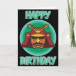 """Samurai Helmet Birthday Card<br><div class=""""desc"""">Samurai are cool,  and so are birthdays. So wish that special someone a happy birthday with this scary samurai helmet card. Let that special person know just how cool you think they are.  This card also features a changeable message inside so you can say exactly what you want to.</div>"""