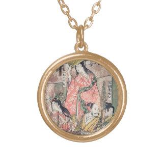 Samurai Hideyoshi and Wives Kitagawa Utamaro Personalized Necklace