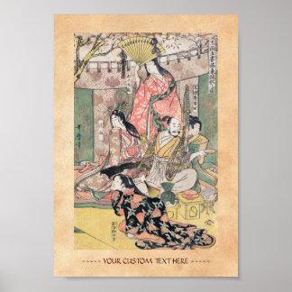 Samurai Hideyoshi and Wives Kitagawa Utamaro Poster