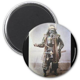 Samurai in Armour circa 1860 2 Inch Round Magnet