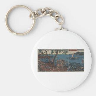 Samurai in Battle circa 1855 Japan Basic Round Button Keychain
