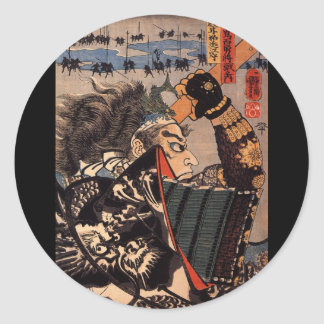 Samurai in beautiful dragon armor, c. 1800's classic round sticker