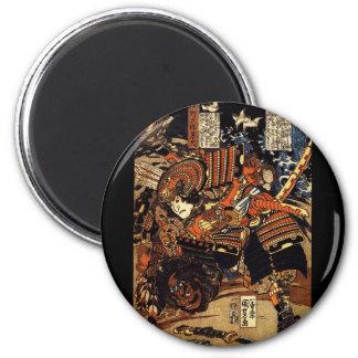 Samurai in Combat, circa 1800's 2 Inch Round Magnet