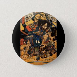 Samurai in Combat, circa 1800's Button
