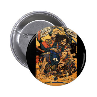 Samurai in Combat, circa 1800's Pinback Button