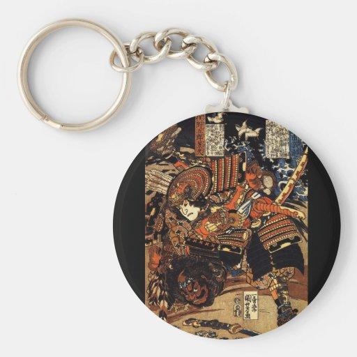 Samurai in Combat, circa 1800's Key Chain