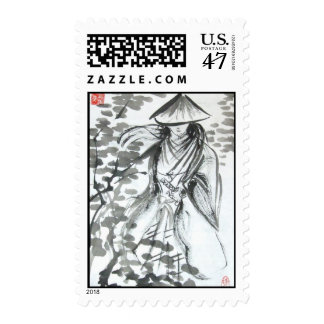 Samurai in Forest Stamps