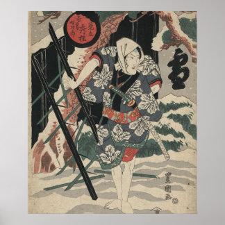Samurai in the Snow in Japan circa 1825 Poster