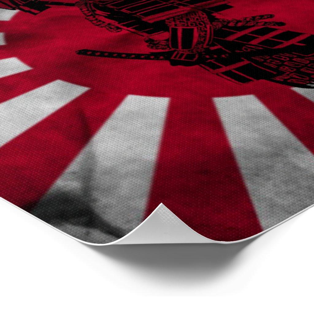 japanese samurai and flag of