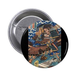 Samurai Japanese Painting c. 1800's Pinback Button